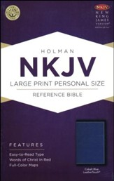 NKJV Large-Print Personal-Size Reference Bible--soft leather-look, cobalt blue