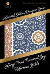 HCSB Large Print Personal Size Reference Bible, Bronze and Blue Paisley LeatherTouch