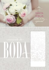 Biblia RVR 1960 Recuerdo de Boda, Piel Simil, Blanco Floral  (RVR 1960 Keepsake Bride's Bible, Simil Piel, Floral White) - Imperfectly Imprinted Bibles