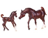 Chestnut Arabian Horse and Foal Set