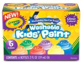 Crayola Washable Glitter Paint, 6 Pack