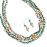 3 Row Beaded Necklace Set, Turquoise