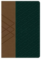 Biblia RVR 1960 Letra Gde. Ref. Tam. Manual, Piel Sim. Tan/Verde  (RVR 1960 Hand-Size Lge. Print Ref. Bible, Tan/Green Leather)
