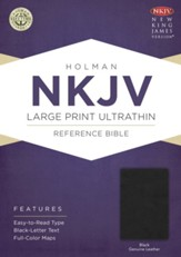 NKJV Large Print UltraThin Reference Bible, Black Genuine Leather