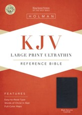 KJV Large Print Ultrathin Reference Bible, Black Genuine Leather - Slightly Imperfect