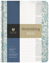 HCSB Notetaking Bible, Blue Floral Cloth