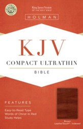 KJV Compact Ultrathin Reference Bible, Brown Cross LeatherTouch, Thumb-Indexed