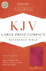 KJV Large Print Compact Reference Bible, Pink LeatherTouch, Thumb-Indexed - Imperfectly Imprinted Bibles
