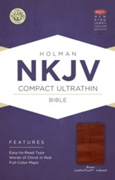 NKJV Compact Ultrathin Bible, Brown Cross LeatherTouch, Thumb-Indexed