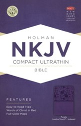 NKJV Compact Ultrathin Bible, Purple LeatherTouch, Thumb-Indexed