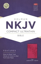 NKJV Compact Ultrathin Bible, Pink LeatherTouch, Thumb-Indexed