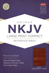 NKJV Large Print Compact Reference Bible, Brown Cross LeatherTouch, Thumb-Indexed