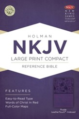 NKJV Large Print Compact Reference Bible, Purple LeatherTouch, Thumb-Indexed - Imperfectly Imprinted Bibles