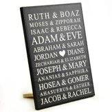 Personalized, Lithograph Plaque, Bible Names, Small,   Black