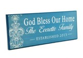 Personalized, Lithograph Plaque, God Bless Our Home,   Long, BLue