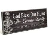 Personalized, Lithograph Plaque, God Bless Our Home Long, BLack