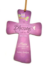 Personalized, Mini Cross with Owl, My Greatest   Blessings, Call Me Mom, Purple