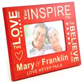 Personalized, Photo Frame, Love Never Fails, Red