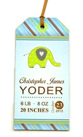 Personalized, Gift Tag with Elephant, Baby Boy, BLue