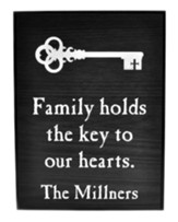 Personalized, Lithograph Plaque, Key To Our Hearts, Small, Black