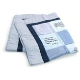 Embroidered Scriptures Baby Quilt, Blue
