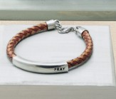 Pray Id Bracelet, Braided Genuine Leather Brown - Slightly Imperfect