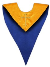 Gold Cross Embroidered Reversible Choir Stole, Blue / Gold (Set of 6)
