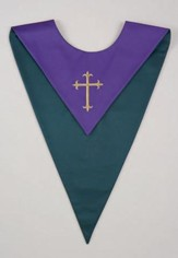 Gold Cross Embroidered Reversible Choir Stole, Purple / Green (Set of 6)
