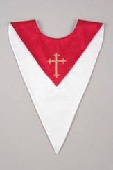 Gold Cross Embroidered Reversible Choir Stole, Red / White (Set of 6)