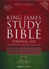 KJV Personal-Size Study Bible--soft leather-look, auburn