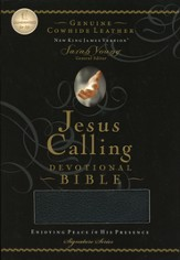 NKJV Jesus Calling Devotional Bible, Genuine leather, black - Slightly Imperfect