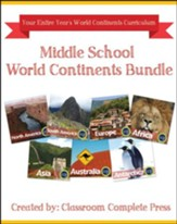 Middle School World Continents  Bundle, Grades 5-8