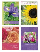 Floral Birthday Cards, Box of 12