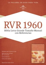 RVR 1960 Biblia Letra Grande Tamaoo Manual con Referencias, damasco y coral simil piel