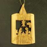 Olivewood Candle with Nativity Ornament