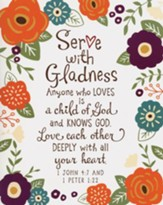 Serve with Gladness Print, Pack of 10