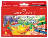 Watercolor Crayons with Brush, Pack of 15
