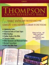 KJV Thompson Chain-Reference Bible, Burgundy  Genuine Leather, Capri Grain, Thumb Indexed - Slightly Imperfect