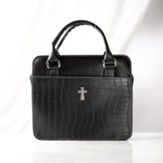 Croc Embossed Purse Bible Cover, Black, Medium
