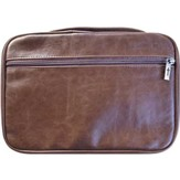 Leather Look Bible Cover. Cross Zipper, Brown XX-Large