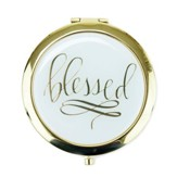 Blessed Compact Mirror, White and Gold