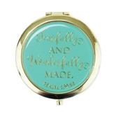 Fearfully and Wonderfully Made Compact Mirror, Teal and Gold