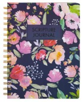 Spiral Bound Scripture Journal, Navy Floral