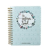 He Restores My Soul Spiral Bound Scripture Journal, Blue Trellis