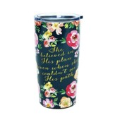 She Believed Stainless Steel Tumbler, Vintage Floral