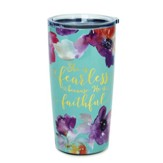 She Is Fearless Stainless Steel Tumbler, Teal Floral