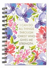 I Can Do All Things, 18 Month Planner, Purple Floral
