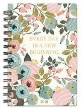 Every Day is a New Beginning, 18 Month Planner, Peach Floral