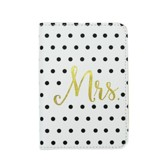 Mrs. Passport Holder, Imitation Leather, Black and White Polka Dot