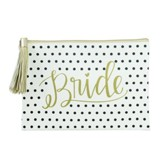 Bride Zipper Pouch, Black and White Polka Dot
